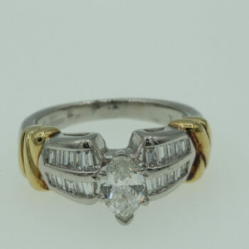 Buy 18k Platinum .75ct Cen .50ct Side Ring